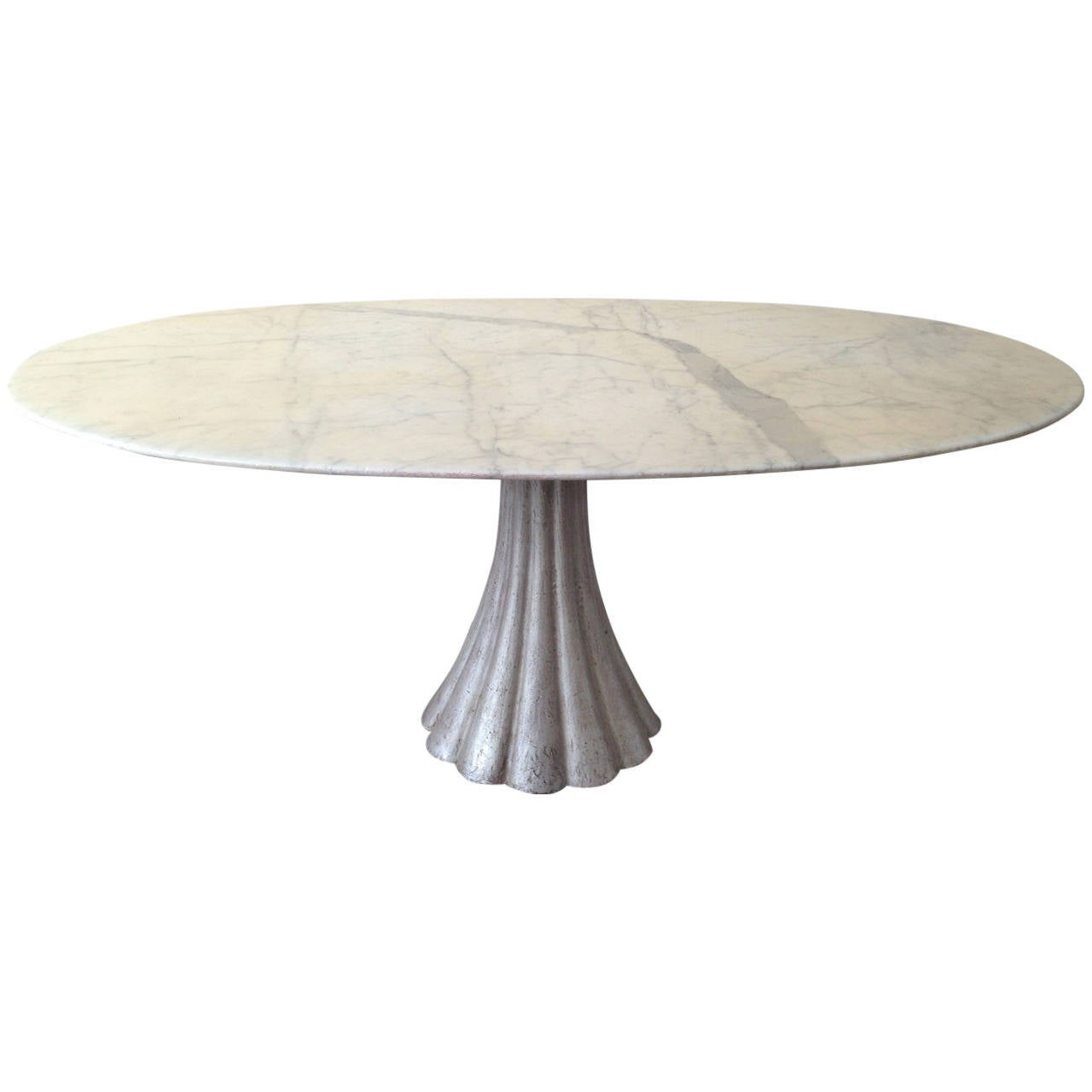 Oval marble dining table in the manner of angelo for Marble dining room table
