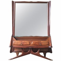 Mirror with Console and Drawers Style of Osvaldo Borsani