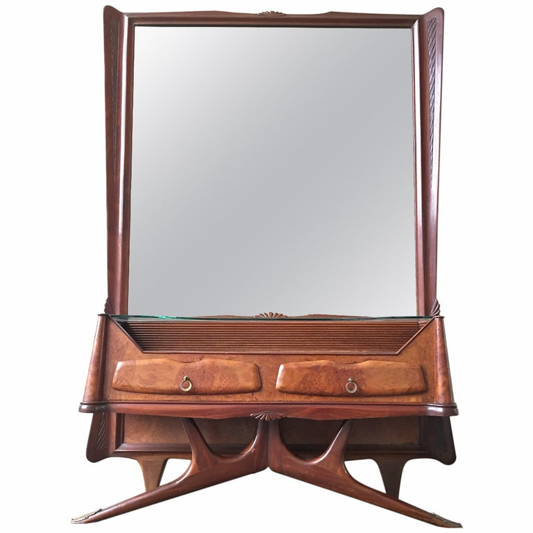 Mirror with Console and Drawers Style of Osvaldo Borsani For Sale