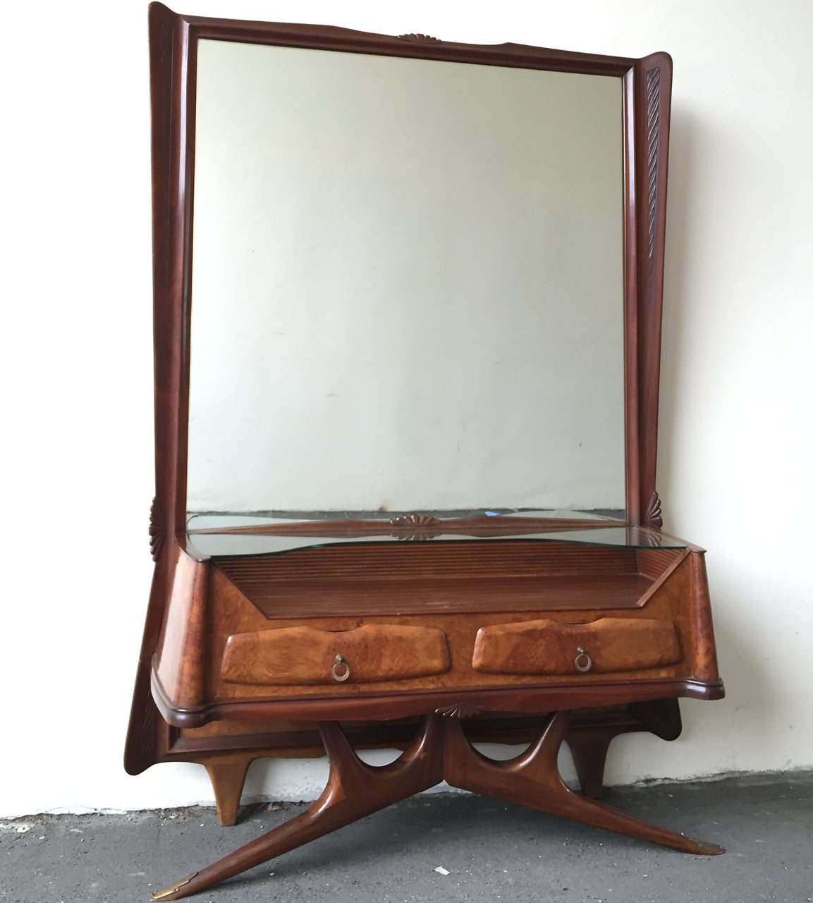 Mirror with Console and Drawers Style of Osvaldo Borsani For Sale 2