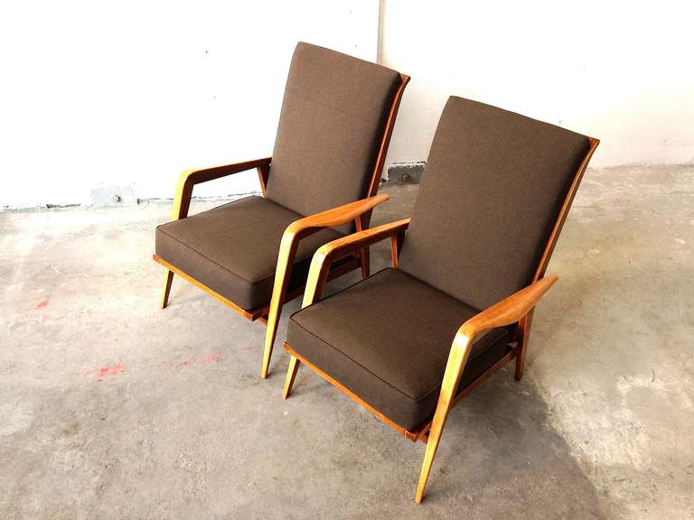 French Pair of Armchairs by Etienne-Henri Martin - Steiner Paris 1937 For Sale