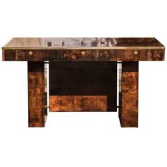 Elegant Aldo Tura Brown Goatskin Desk
