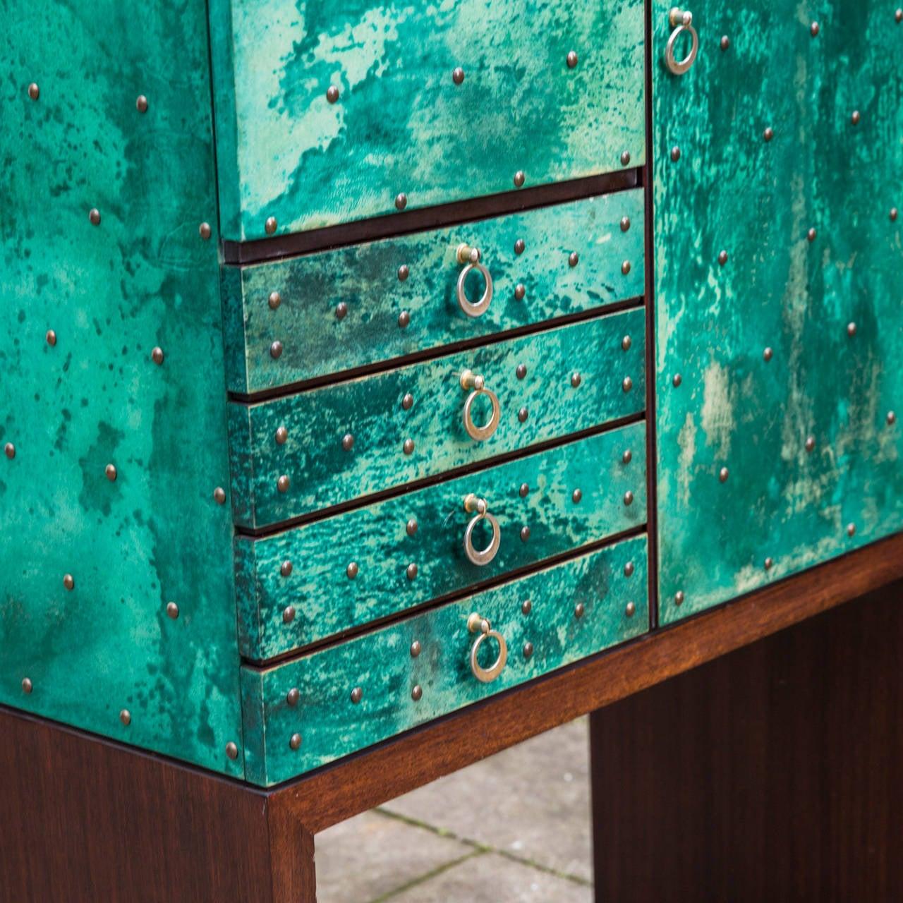 Magnificent Turquoise Goatskin Aldo Tura Bar Cabinet at 1stdibs