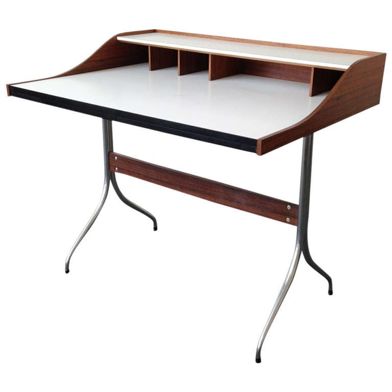Rare George Nelson Swag Legged Desk In Rosewood 1