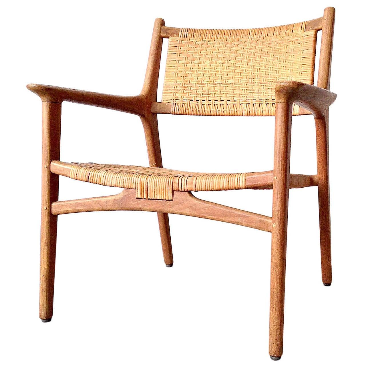 hans j wegner for johannes hansen teak cane easy chair 1951 at 1stdibs. Black Bedroom Furniture Sets. Home Design Ideas