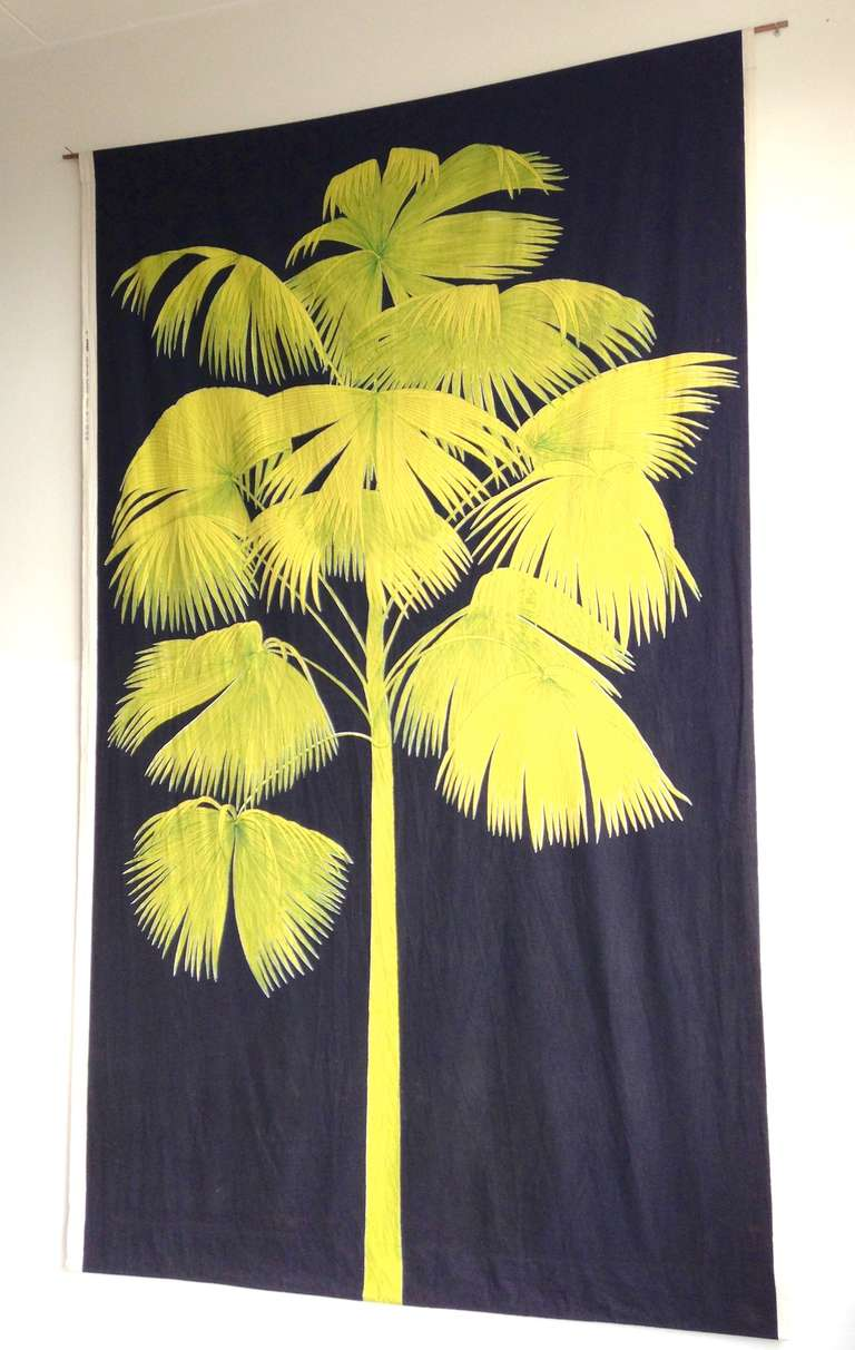 Big Yellow/Black Palm Textile Wall Hanging For Sale at 1stdibs