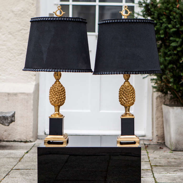 Two pineapple table lamps hollywood regency style at 1stdibs pair of hollywood regency style pineapple lamps france 1970 metal base gold painted base with aloadofball Choice Image