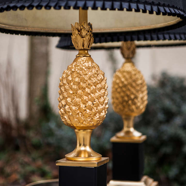 French Two Pineapple Table Lamps Hollywood Regency Style For Sale