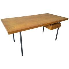 Architects Desk with Hidden Lockable Drawer, Style of Poul Kjaerholm