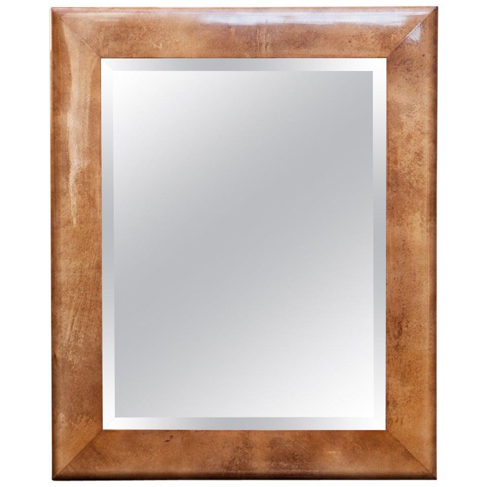 Large Goatskin Mirror by Aldo Tura