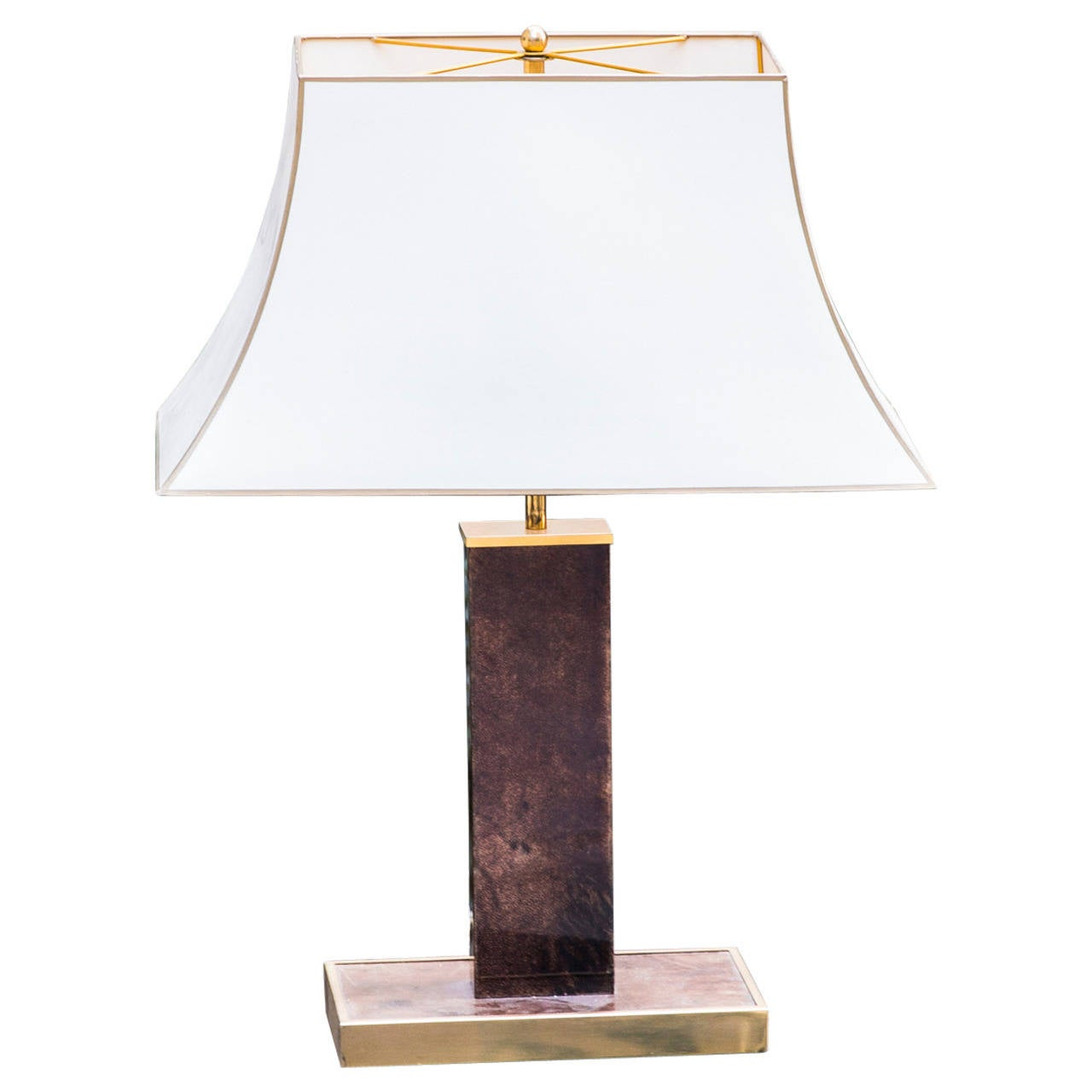 aldo tura table lamp brown goatskin silk shade for sale at 1stdibs. Black Bedroom Furniture Sets. Home Design Ideas