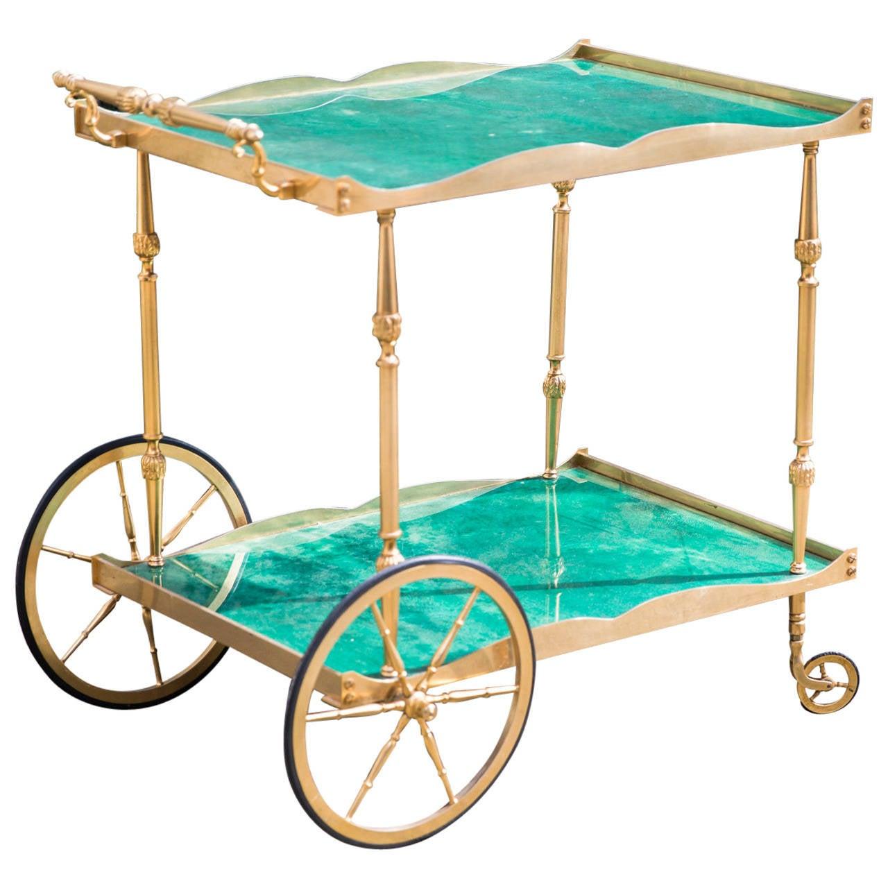 Aldo Tura Bar Cart For Sale at 1stdibs
