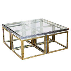 Bi Color Maison Charles Low Table with Four Nesting Tables