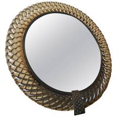 Treccia Vanity Mirror by Carlo Scarpa for Venini, Murano