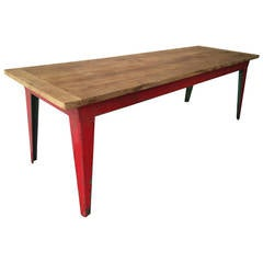 French Industrial Iron and Oak Working Table
