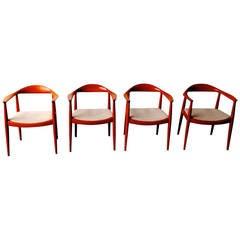 Set of Four Hans Wegner Round Chairs Johannes Hansen