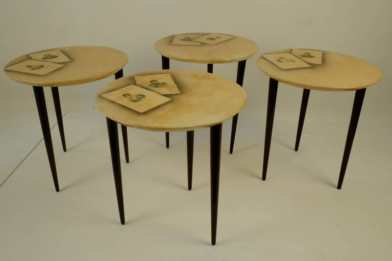 Set of four lacquered parchment side tables by Aldo Tura with transfer printed portraits of ??