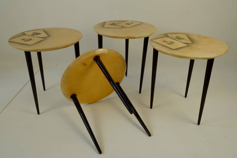 Mid-Century Modern Four Aldo Tura Side Tables For Sale