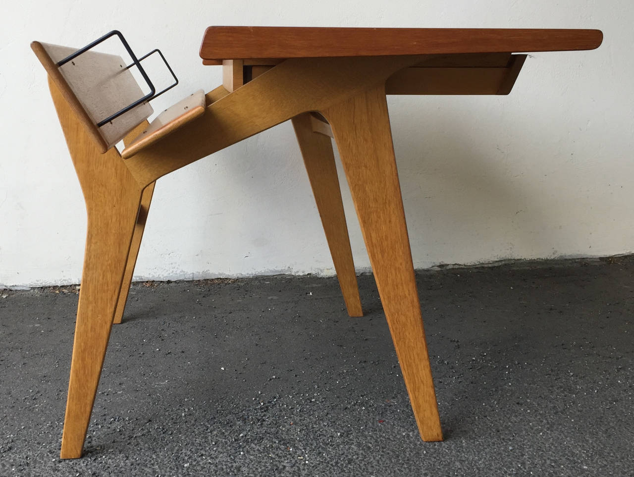 Danish Small Oak and Teak Wood Desk with Bookshelf Attributed to Hans Wegner For Sale