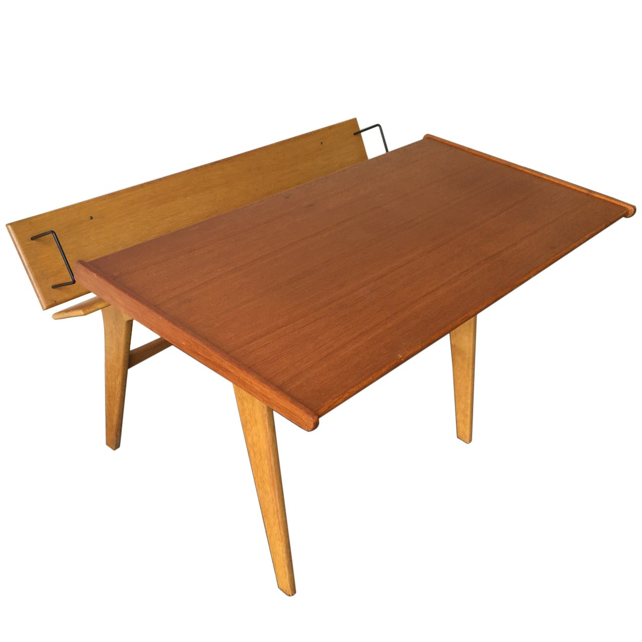 Small Oak and Teak Wood Desk with Bookshelf Attributed to Hans Wegner For Sale