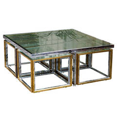 Bi Color Low Table by Maison Charles with Four Nesting Tables