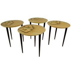 Four Aldo Tura Side Tables