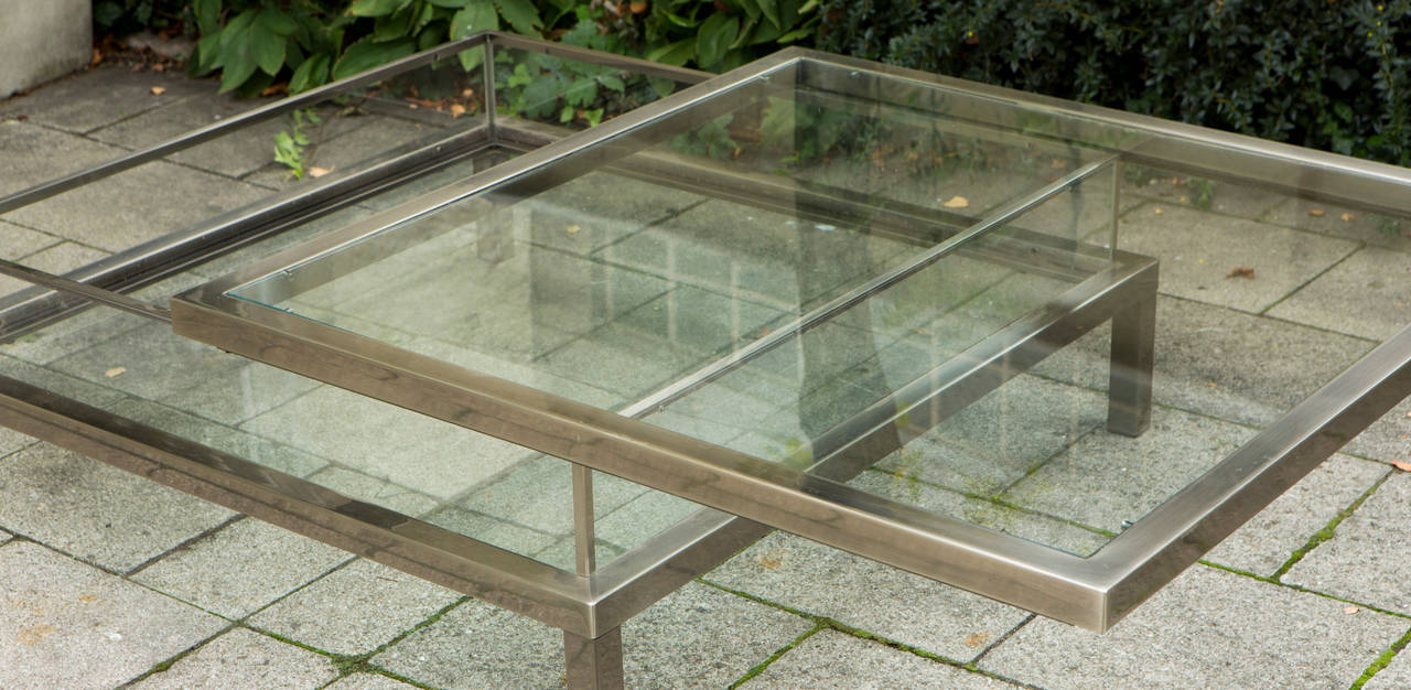 Sliding Top Coffee Table By Romeo Rega In Steel And Gl Very Heavy Quality