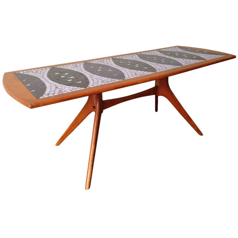 Amazing teak wood and glass mosaic coffee table for sale for Amazing coffee tables
