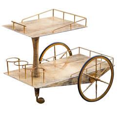 Impressive Aldo Tura Bar Cart Goatskin