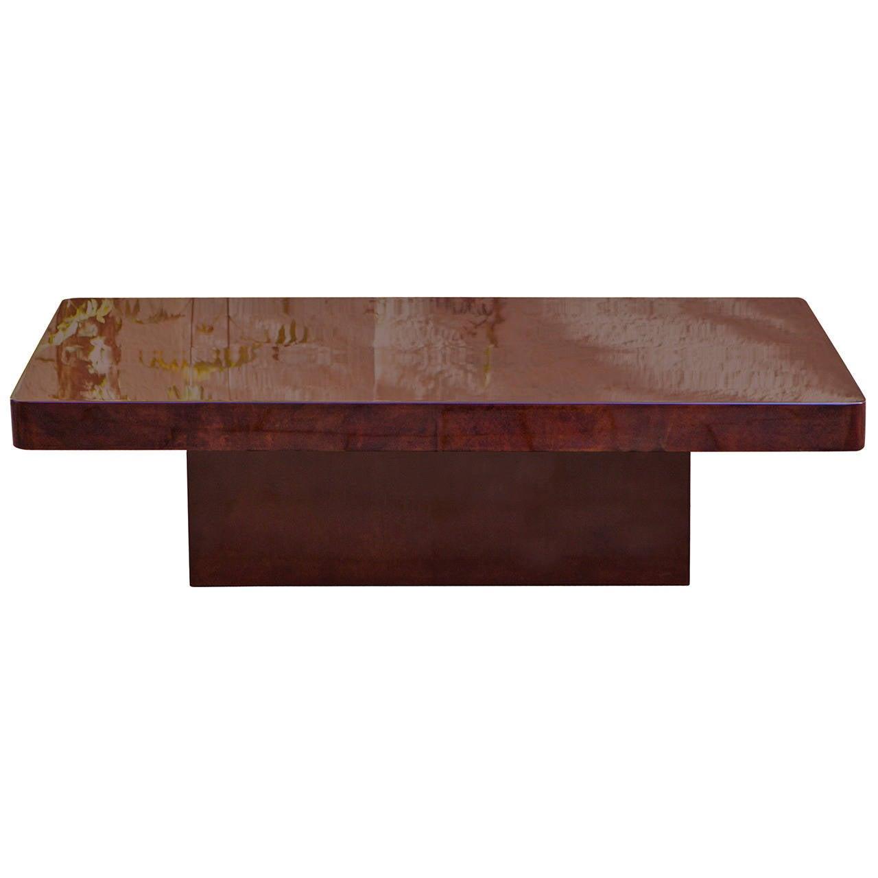 Modern aldo tura red goatskin coffee table for sale at 1stdibs for Red modern coffee table