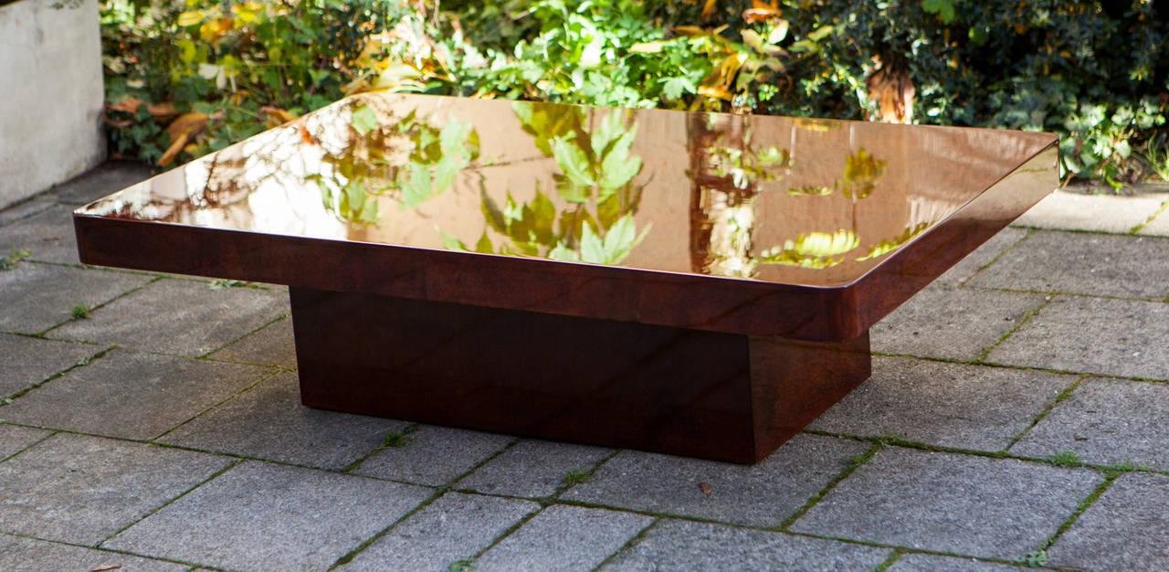 Modern Aldo Tura Red Goatskin Coffee Table For Sale At 1stdibs