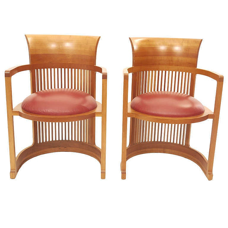 Pair Of Frank Lloyd Wright Chairs For Cassina At 1stdibs