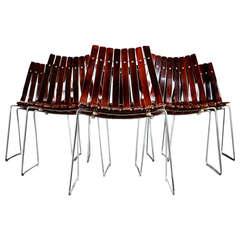 """Set of Six Hans Brattrud """"Scandia"""" Rosewood Dining Chairs"""