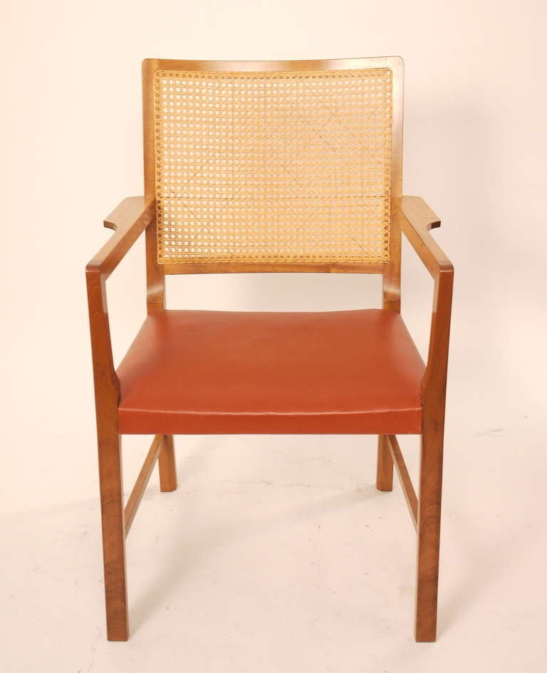 Mid-Century Modern Six Mahogany Red Leather  Chairs by Bernt Petersen For Sale