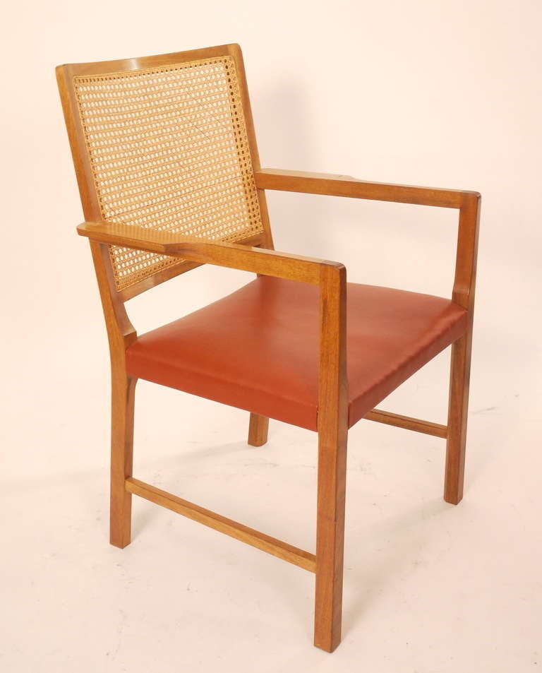 Six Mahogany Red Leather  Chairs by Bernt Petersen For Sale 1