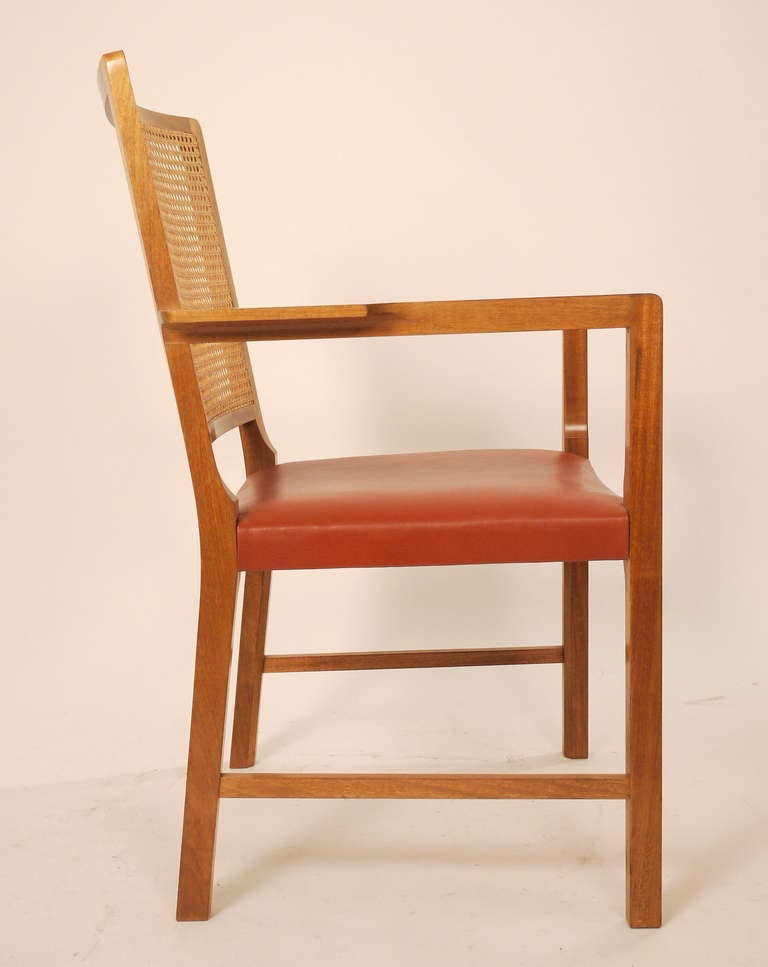 Danish Six Mahogany Red Leather  Chairs by Bernt Petersen For Sale