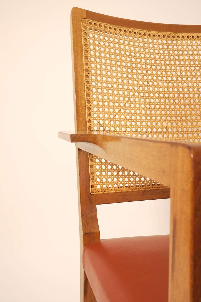 Cane Six Mahogany Red Leather  Chairs by Bernt Petersen For Sale