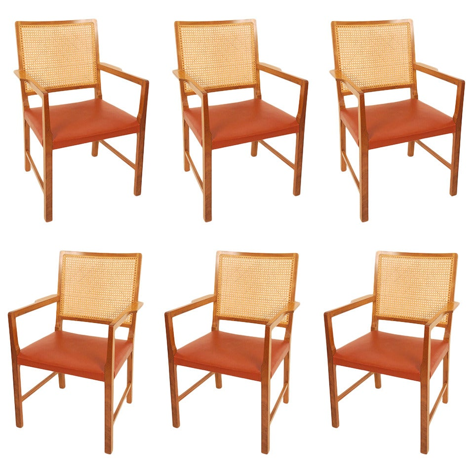 Six Mahogany Red Leather  Chairs by Bernt Petersen