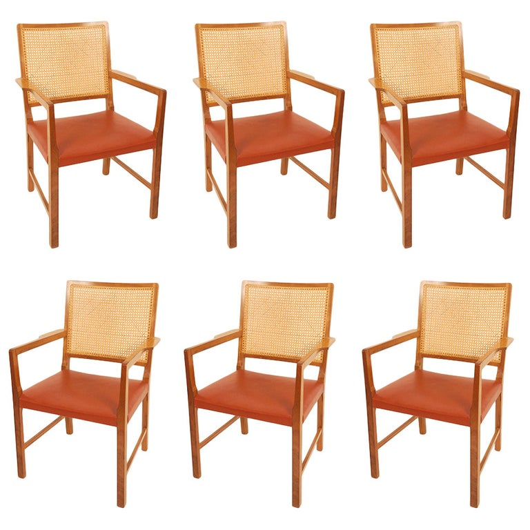 Six Mahogany Red Leather  Chairs by Bernt Petersen For Sale