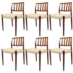 Set of Six No 83 Rosewood Dining Chairs by Niels O. Moller
