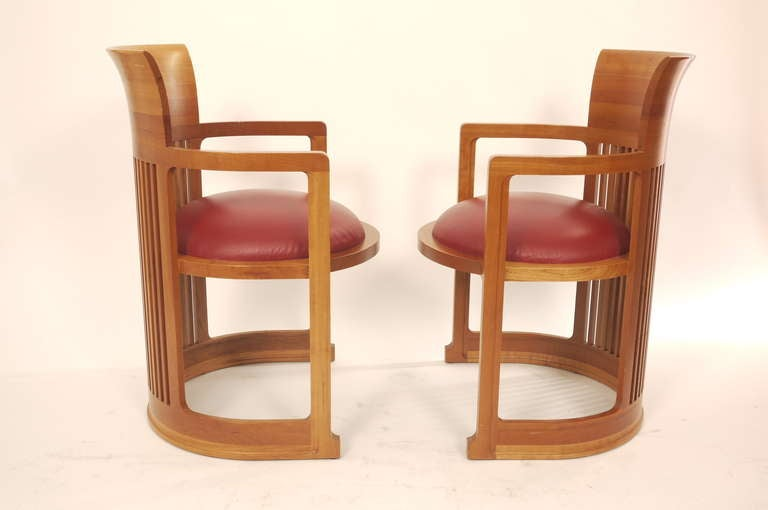 pair of frank lloyd wright barrel chairs 3