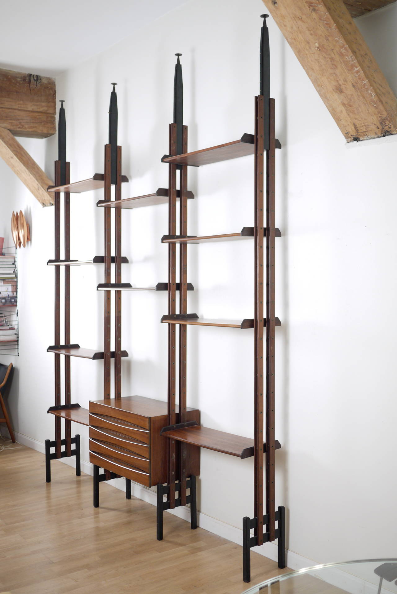 Mid Century Modern Italian Rosewood Bookcase In The Style Of Franco Albini For Sale