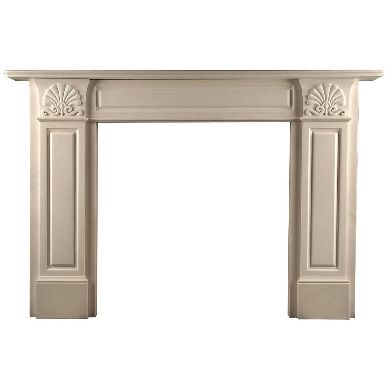 A Grand Regency Fireplace Mantel in White Statuary Marble