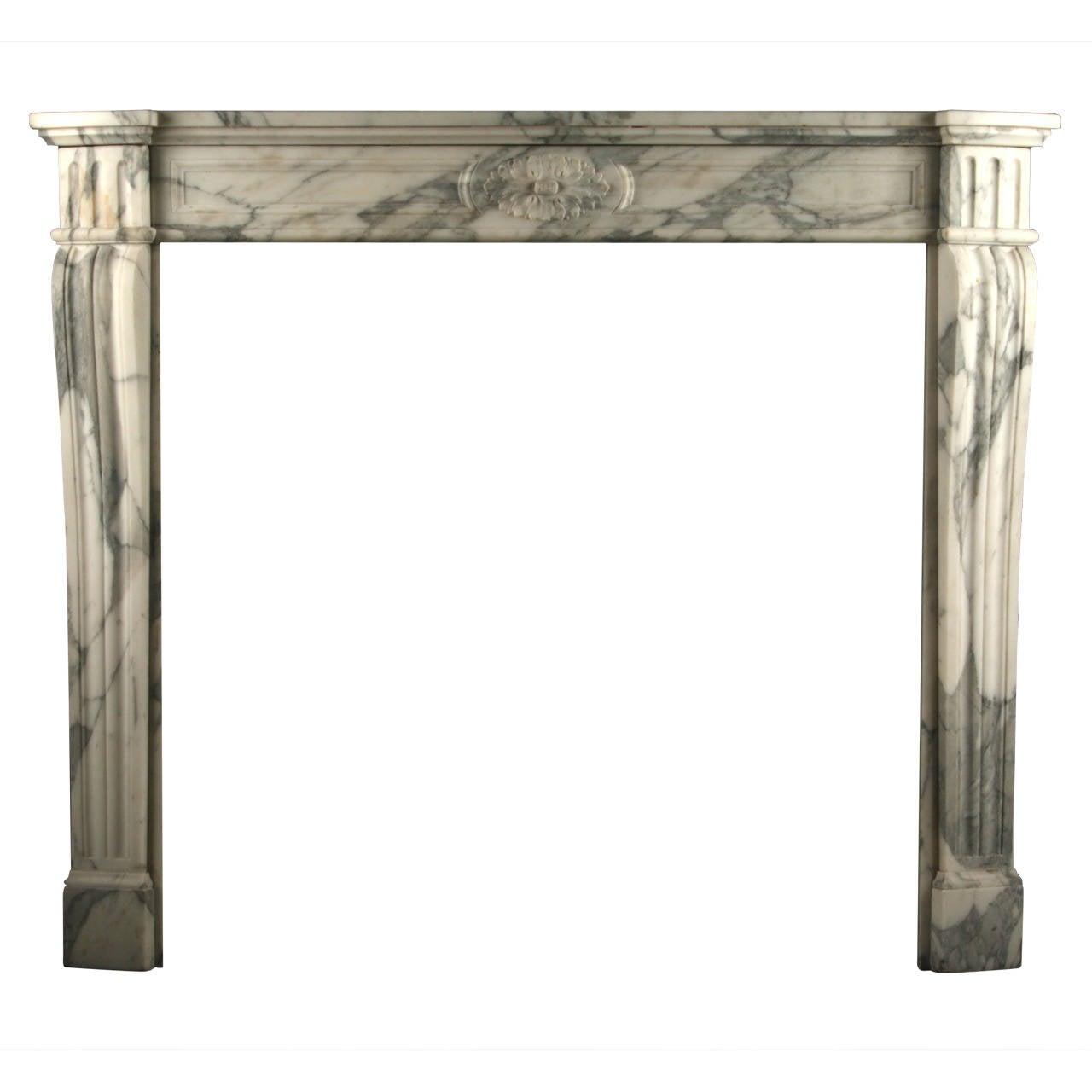 antique louis xvi regency fireplace mantel in arabescato