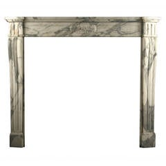 Antique Louis XVI Regency Fireplace Mantel in Arabescato Marble