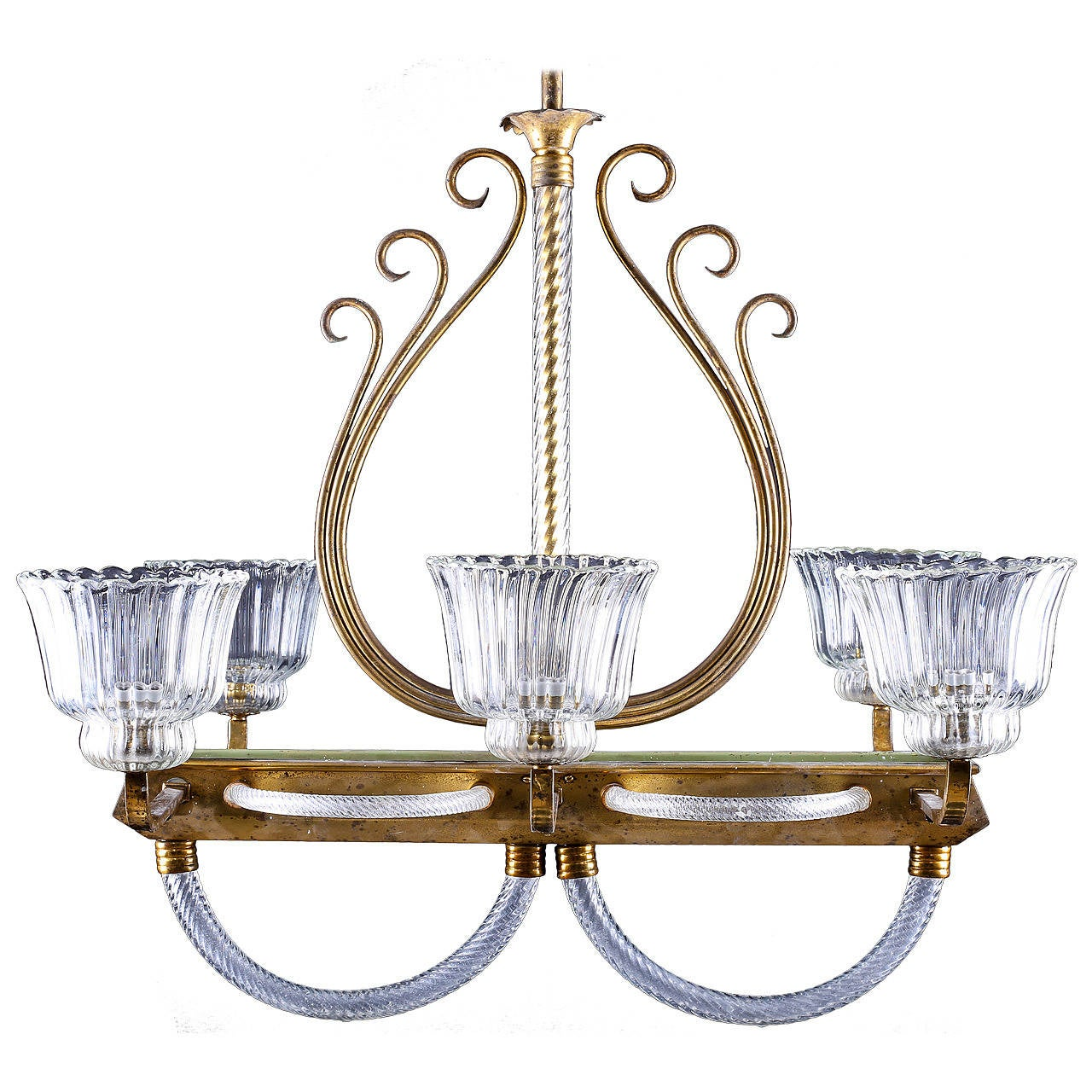 Venetian Brass and Clear Murano Glass Chandelier by Barovier and Toso, 1930s