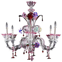 Italian Handblown Venetian Murano Glass Chandelier, circa 1920s
