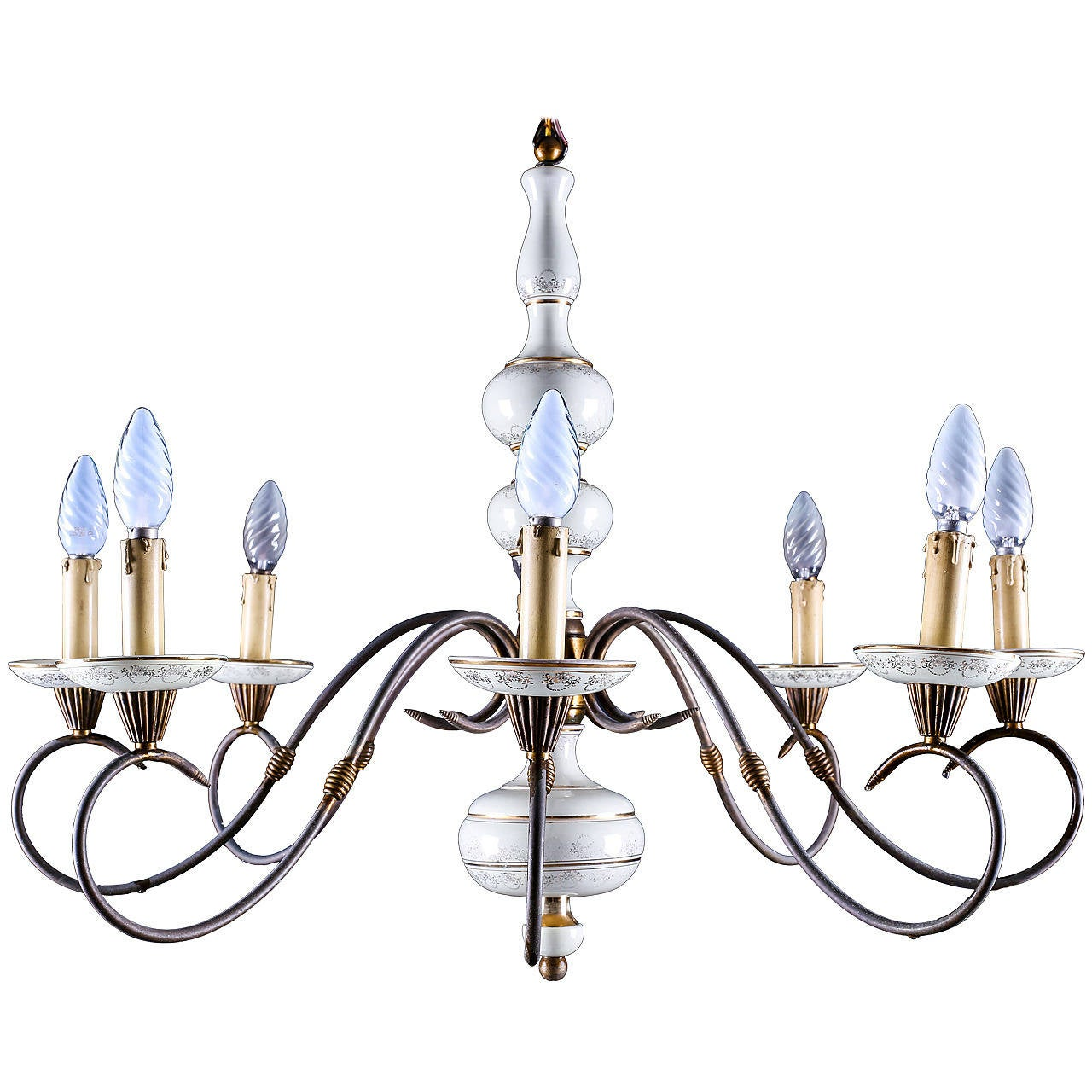 Beautiful Brass and Porcelain Eight-Light Aesthetic Movement Chandelier
