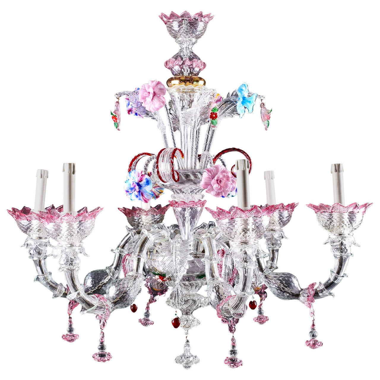 Attractive Large Six Light Italian Murano Gl Chandelier Circa 1920s For