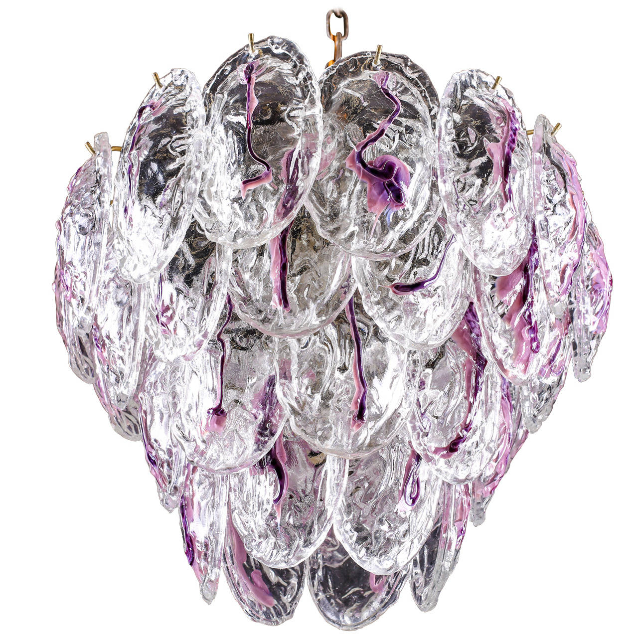 Vintage Murano Glass Petal Chandelier by Mazzega